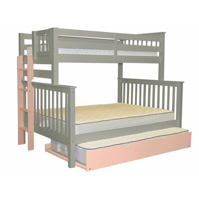 Mission Twin over Full Bunk Bed with Trundle Bed Frame Color: Gray/Pink