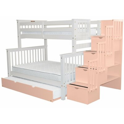 Stairway Twin over Full Bunk Bed with Trundle Bed Frame Color: White/Pink