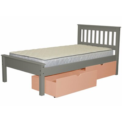 Mission Twin Slat Bed with Storage Bed Frame Color: Gray/Pink