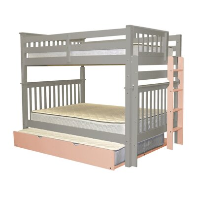 Mission Full over Full Bunk Bed with Full Trundle Bed Frame Color: Gray/Pink