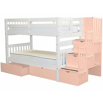 Stairway Twin over Twin Bunk Bed with Extra Storage Bed Frame Color: White/Pink