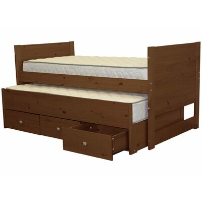 Twin Captain Bed with Trundle and Storage Color: Espresso