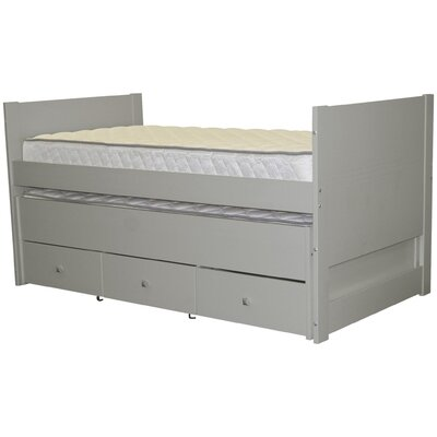 Twin Captain Bed with Trundle and Storage Color: Gray