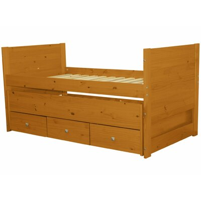 Twin Captain Bed with Trundle and Storage Color: Honey