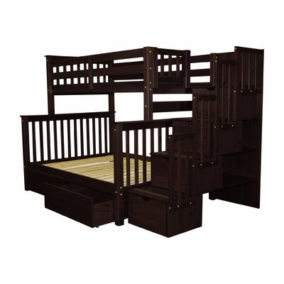 Stairway Twin over Full Bunk Bed with Extra Storage Bed Frame Color: Cappuccino