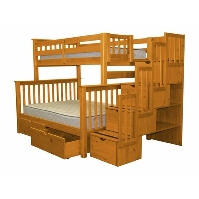 Stairway Twin over Full Bunk Bed with Extra Storage Bed Frame Color: Honey