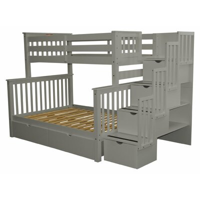 Stairway Storage Drawer Bunk Bed Bed Frame Color: Gray
