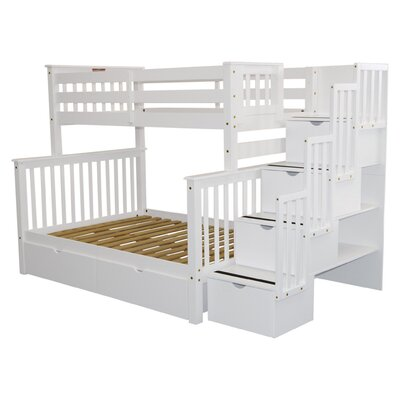 Stairway Storage Drawer Bunk Bed Bed Frame Color: White