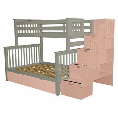 Stairway Twin over Full Bunk Bed with Extra Storage Bed Frame Color: Gray/Pink