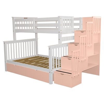 Stairway Storage Drawer Bunk Bed Bed Frame Color: White/Pink