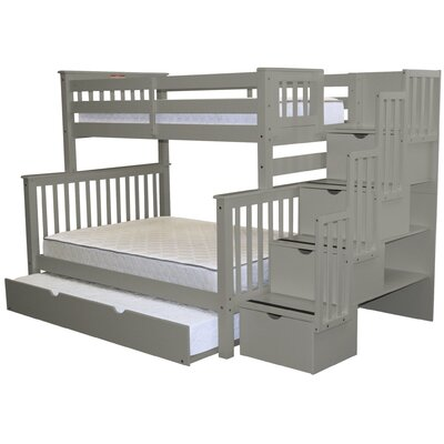 Stairway Twin over Full Bunk Bed with Trundle Bed Frame Color: Gray
