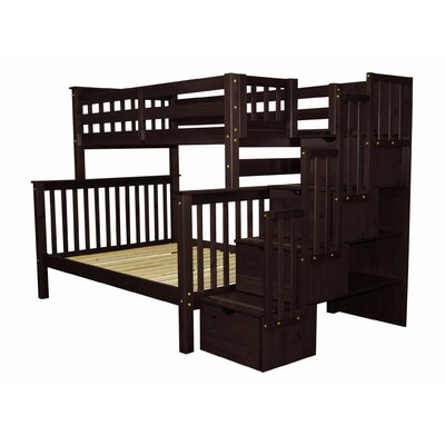 Stairway Twin over Full Bunk Bed with Storage Color: Cappuccino