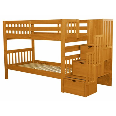 Stairway Twin Over Twin Bunk Bed with Storage Color: Honey