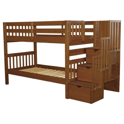 Stairway Twin Over Twin Bunk Bed with Storage Color: Espresso