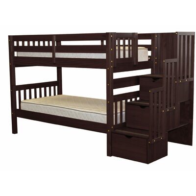 Stairway Twin Over Twin Bunk Bed with Storage Color: Cappuccino