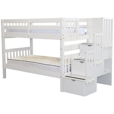 Stairway Twin Over Twin Bunk Bed with Storage Color: White