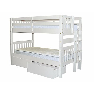 Mission Twin over Twin Bunk Bed with Storage Bed Frame Color: White