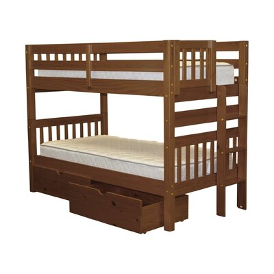 Mission Twin over Twin Bunk Bed with Storage Bed Frame Color: Espresso