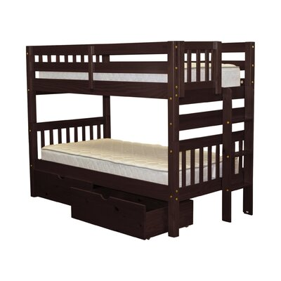 Mission Twin over Twin Bunk Bed with Storage Bed Frame Color: Cappuccino