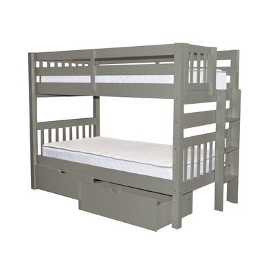 Mission Twin over Twin Bunk Bed with Storage Bed Frame Color: Gray