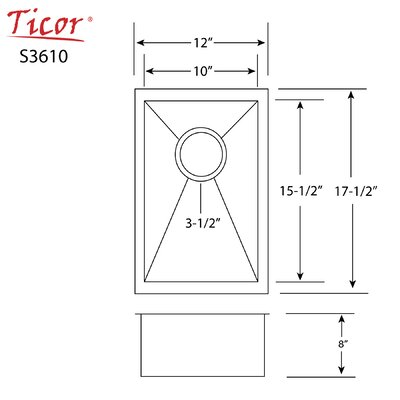 Ticor 12 X 17-1/2 Inch Zero Radius 16 Gauge Stainless Steel Single Bowl Square Undermount Kitchen Bar Sink