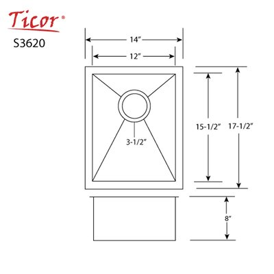 Ticor 14 X 17-1/2 Inch Zero Radius 16 Gauge Stainless Steel Single Bowl Square Undermount Kitchen Bar Sink