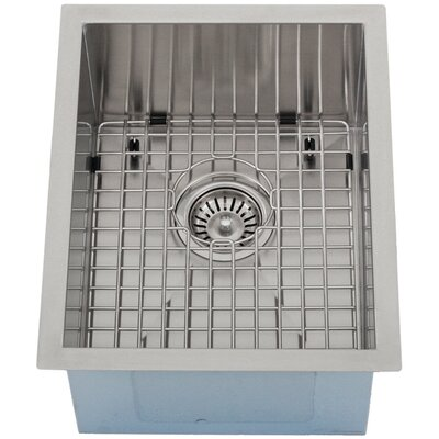 Ticor 14 X 17-1/2 Inch Zero Radius 16 Gauge Stainless Steel Single Bowl Square Undermount Kitchen Bar Sink