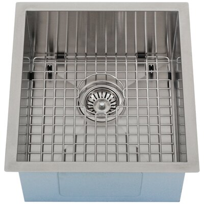 Ticor 16 X 17-1/2 Inch Zero Radius 16 Gauge Stainless Steel Single Bowl Square Undermount Kitchen Bar Sink