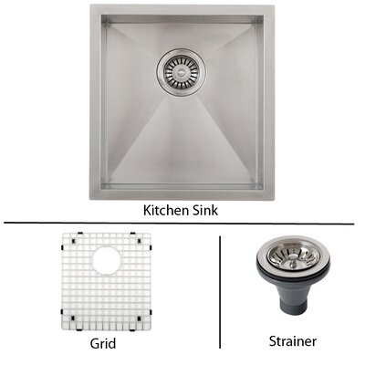 Ticor 16 X 17-1/2 Inch Zero Radius 16 Gauge Stainless Steel Single Bowl Square Undermount Kitchen Bar Sink