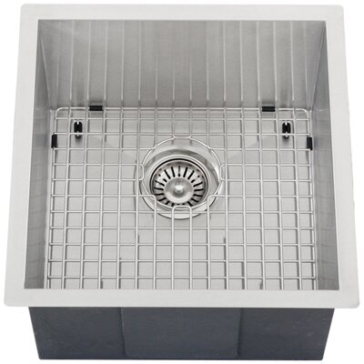 Ticor 17-1/4 X 17-1/2 Inch Zero Radius 16 Gauge Stainless Steel Single Bowl Square Undermount Kitchen Bar Sink
