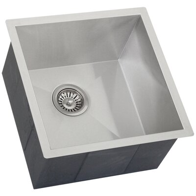 Ticor 17-1/4 X 17-1/2 Inch Zero Radius 16 Gauge Stainless Steel Single Bowl Square Undermount Kitchen Bar Sink
