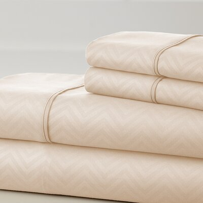 Becky Cameron Chevron Sheet Set Color: Cream, Size: Queen