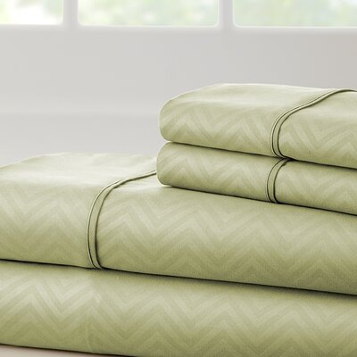 Becky Cameron Chevron Sheet Set Color: Sage, Size: California King