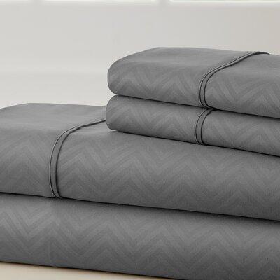 Becky Cameron Chevron Sheet Set Color: Gray, Size: Queen