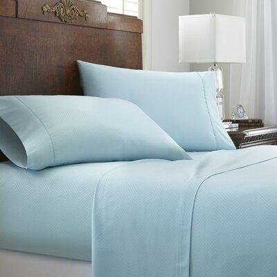 Franky Chevron Sheet Set Color: Aqua, Size: Full