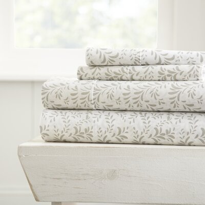 Gabriella Premium Ultra Burst of Vines Pattern Sheet Set Size: California King, Color: Gray