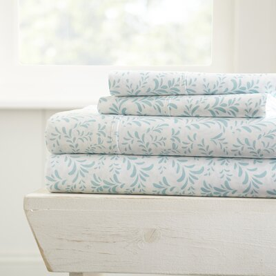Gabriella Premium Ultra Burst of Vines Pattern Sheet Set Size: California King, Color: Blue