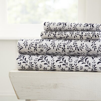 Gabriella Premium Ultra Burst of Vines Pattern Sheet Set Size: Twin, Color: Navy