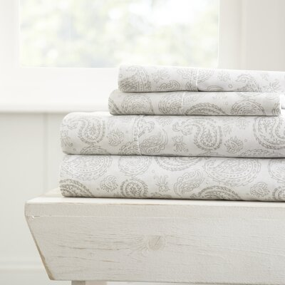 Tarsha Ultra Soft Coarse Paisley Pattern Sheet Set Size: Full, Color: Gray