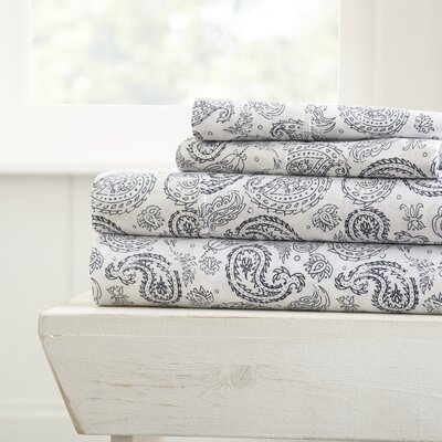 Gabriella Premium Ultra Soft Coarse Paisley Pattern Sheet Set Size: Queen, Color: Navy