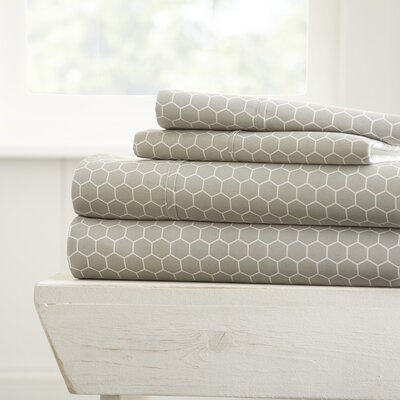 Reith Modern Premium Printed Microfiber Sheet Set Size: California King, Color: Gray