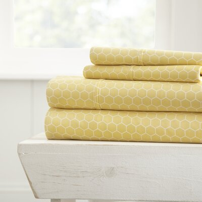Blace Ultra Soft Honeycomb Pattern 4 Piece Sheet Set Size: King, Color: Yellow