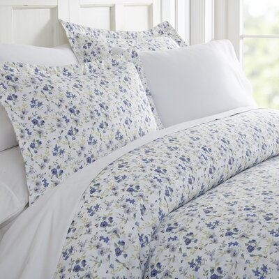 Bjarne Premium Ultra Soft Blossoms Print Duvet Set Size: Twin, Color: Light Blue
