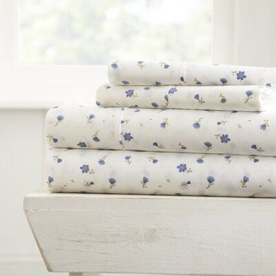 Bjarne Premium Ultra Soft Floral Microfiber 4 Piece Sheet Set Size: Queen, Color: Light Blue