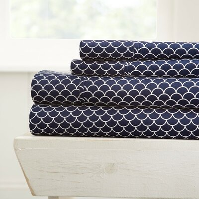 Eilidh Premium Ultra Soft Scallops Microfiber 4 Piece Sheet Set Size: California King, Color: Navy
