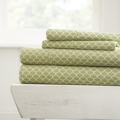 Eilidh Premium Ultra Soft Scallops Microfiber 4 Piece Sheet Set Size: King, Color: Sage