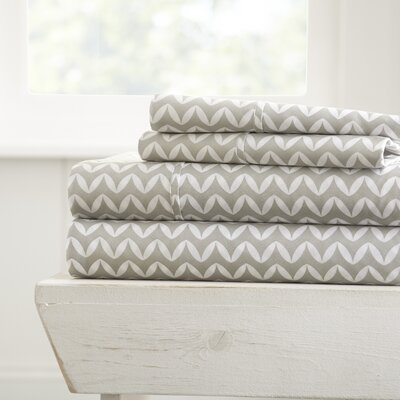 Bergen Chevron Microfiber Sheet Set Size: Queen, Color: Gray