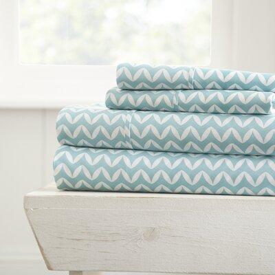 Bergen Chevron Microfiber Sheet Set Size: Full, Color: Light Blue
