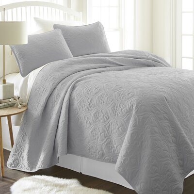 Marnell Coverlet Set Size: Twin/Twin XL, Color: Gray