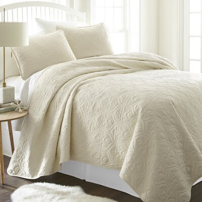 Marnell Coverlet Set Size: Twin/Twin XL, Color: Ivory